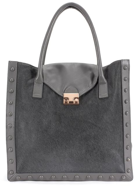 LOEFFLER RANDALL Gray Leather Calf Hair Studded Rose Gold Hardware Tote