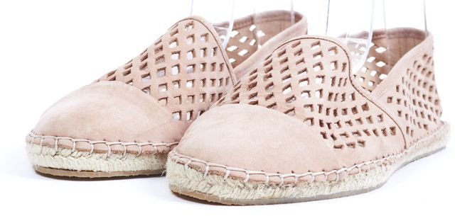 LOEFFLER RANDALL Blush Pink Laser Cut Cap Toe Suede Flats