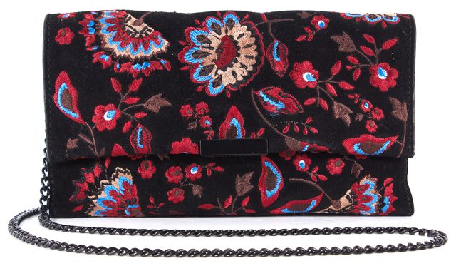 LOEFFLER RANDALL Black Suede Embroidered Floral Chain Link Crossbody Clutch Bag