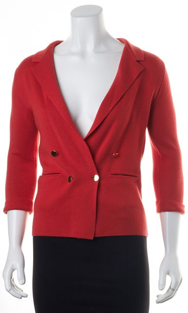 LOEFFLER RANDALL Red Merino Wool Knit Double Breasted Blazer Jacket