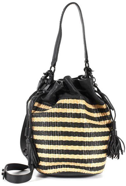 LOEFFLER RANDALL Black Beige Striped Raffia Leather Trim Bucket Shoulder Bag