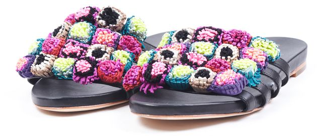 LOEFFLER RANDALL Black Pink Green Leather Pom-Pom Sal Flat Sandals