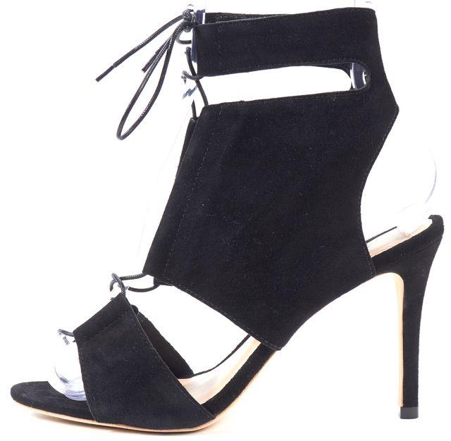 LOEFFLER RANDALL Black Suede Lace-Up Sandal Heels