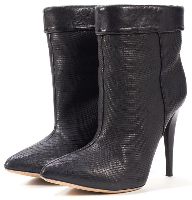 LOEFFLER RANDALL Black Textured Leather Emory Heeled Ankle Boots