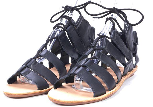 LOEFFLER RANDALL Black Leather Laced Sandals