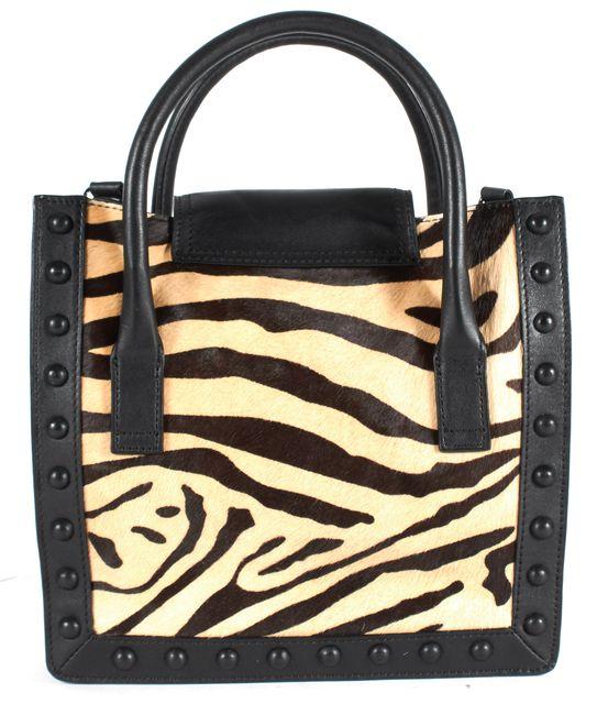 LOEFFLER RANDALL Black Beige Zebra Print Calf Hair Leather Junior Work Satchel