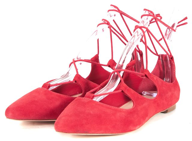 LOEFFLER RANDALL Red Suede Ambra Pointed Toe Lace Up Flats
