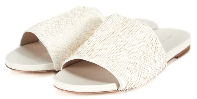 LOEFFLER RANDALL Solid White Textured Leather Open Toe Sandals