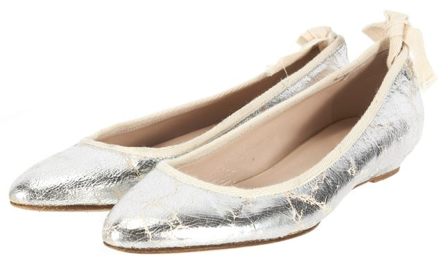 LOEFFLER RANDALL Silver Cracked Distressed Leather Ballet Flats