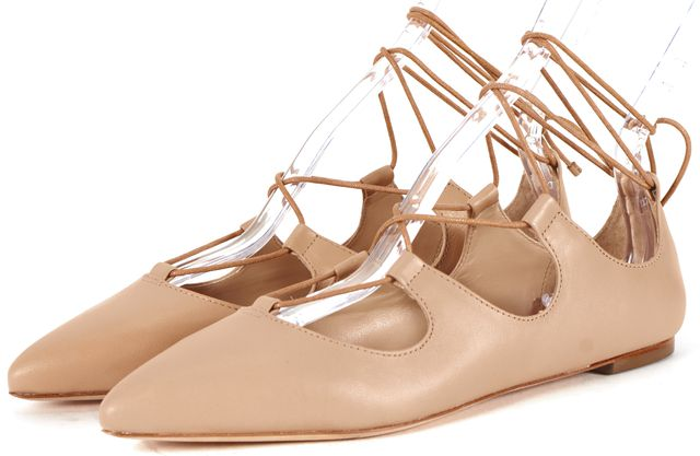 LOEFFLER RANDALL Beige Leather Ambra Pointed Toe Lace-Up Flats