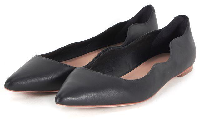 LOEFFLER RANDALL Black Leather Scalloped Pointed Toe Milla Flats