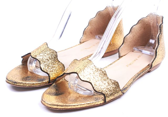 LOEFFLER RANDALL Gold Cracked Leather Scalloped Lina Sandal Flats