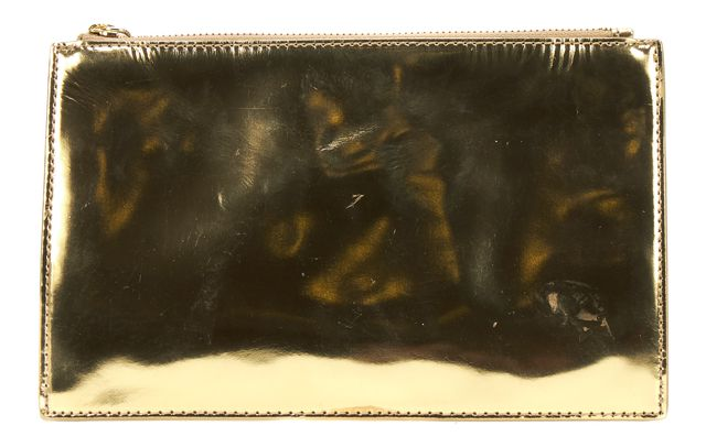 LOEFFLER RANDALL Gold Patent Leather Pochette Clutch