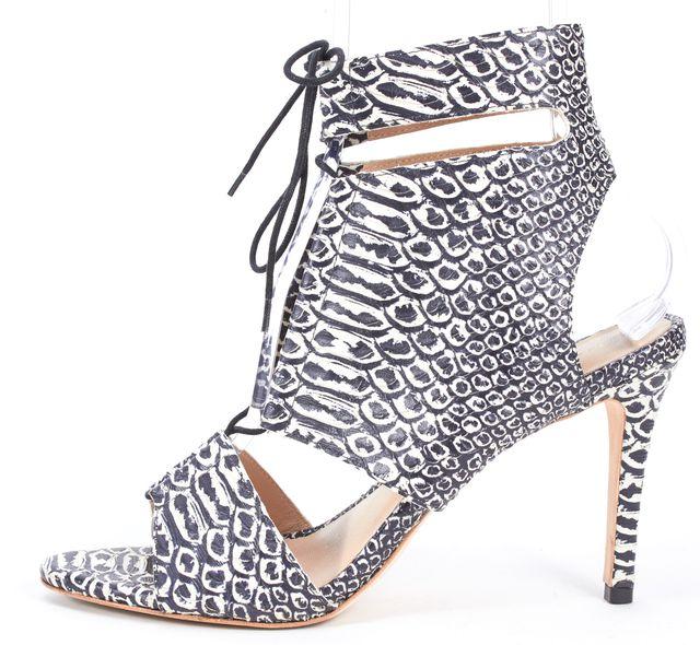 LOEFFLER RANDALL White Black Croc Embossed Leather Scarlet Heels