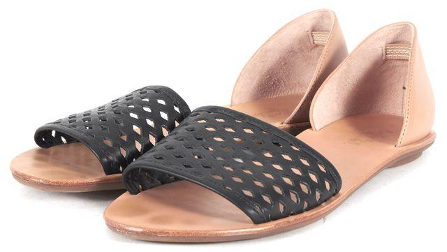LOEFFLER RANDALL Black Beige Cut-Out Leather Slip-On Sandals