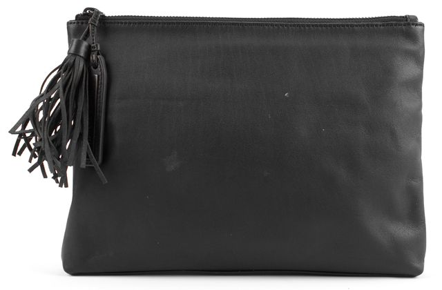 LOEFFLER RANDALL Black Fringed Zip Tassle Leather Clutch