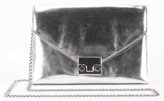 LOEFFLER RANDALL Silver Metallic Leather Chain Strap Small Clutch Crossbody Bag