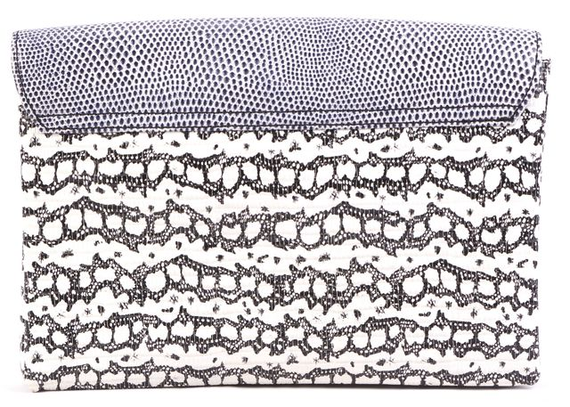 LOEFFLER RANDALL White & Black Abstract Alligator Embossed Leather Clutch