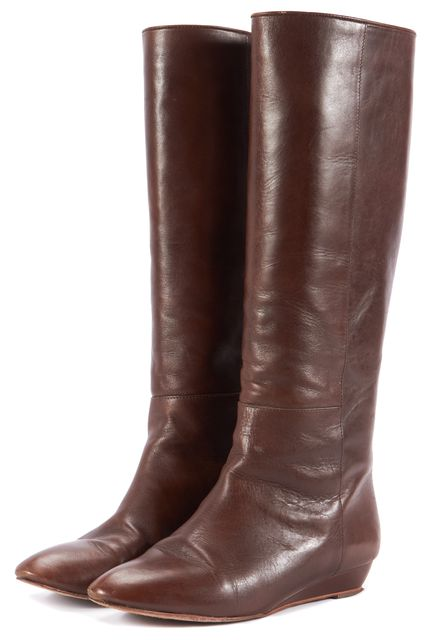 LOEFFLER RANDALL Brown Leather Mid-Calf Boots