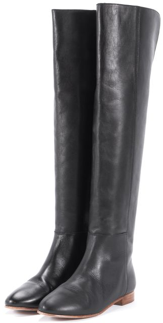 LOEFFLER RANDALL Black Leather Knee-high Flat Tall Boots