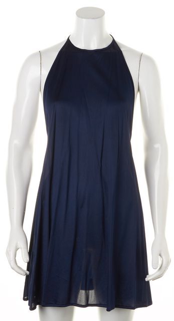 LA PERLA Navy Blue Above Knee Halter Shift Dress