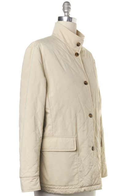 LORO PIANA Ivory Button Front Basic Quilted Jacket