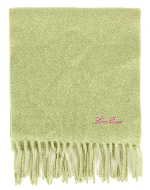 LORO PIANA Lime Green Cashmere Fringe Trim Knit Small Scarf