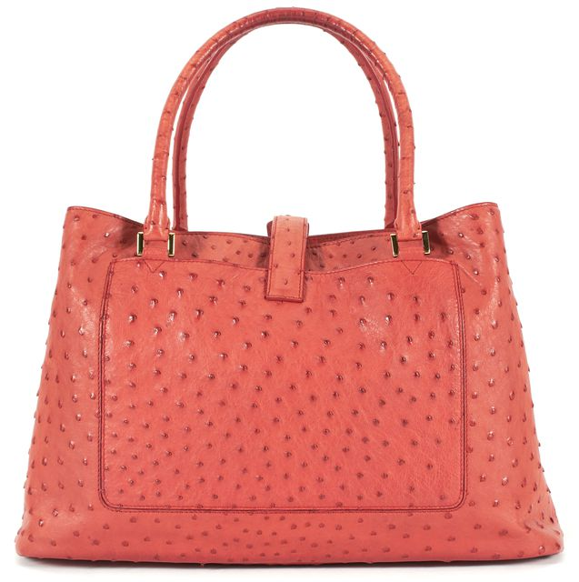 LORO PIANA Orange Autumn Leaves Ostrich Leather Bellevue Tote Bag