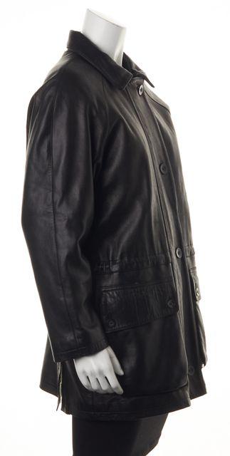 LORO PIANA Black 100% Leather Cashmere Lining Basic Zipped Jacket