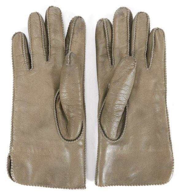 LORO PIANA Olive Green-Gray Leather Wrist Gloves