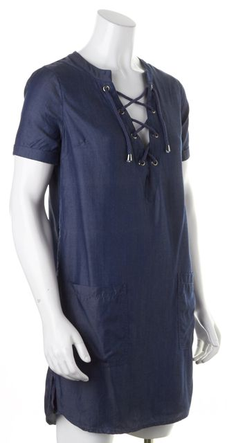 LOVERS + FRIENDS Blue Chambray Lace-Up Shift Dress