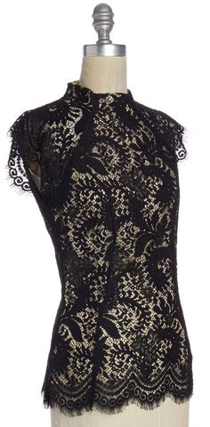 LOVER NWOT Black Lace Layered Top Size 4