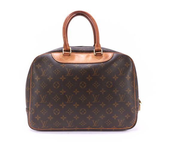 LOUIS VUITTON Brown Monogram Canvas Deauville Top Handle Bag