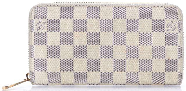 LOUIS VUITTON Authentic White Damier Azur Canvas Zippy Long Wallet