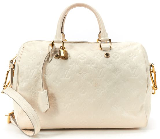 LOUIS VUITTON White Monogram Empreinte Leather Speedy Bandouliere 30 Satchel Bag