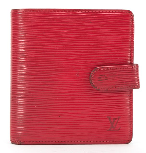 LOUIS VUITTON Red Epi Leather Small Bifold Snap Wallet