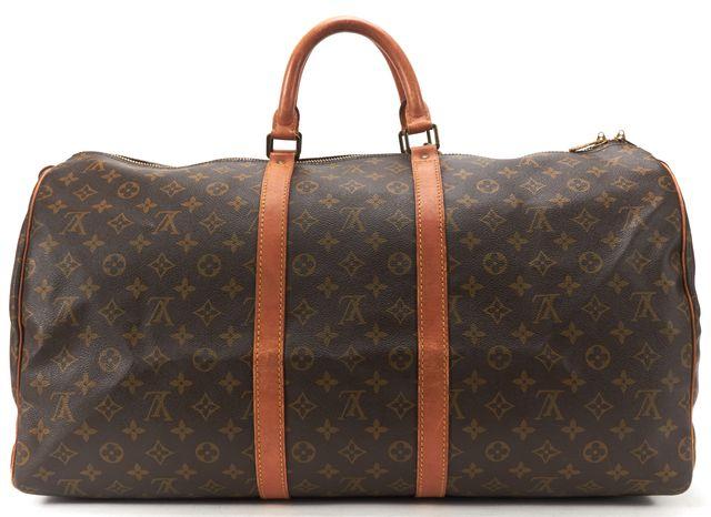 LOUIS VUITTON Brown Monogram Canvas Keepall 55 Weekender Duffle Bag