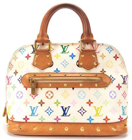 LOUIS VUITTON White Monogram Multicolor Alma PM Studded Top Handle Handbag