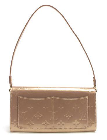 LOUIS VUITTON Beige Poudre Monogram Vernis Rossmore MM Clutch Bag
