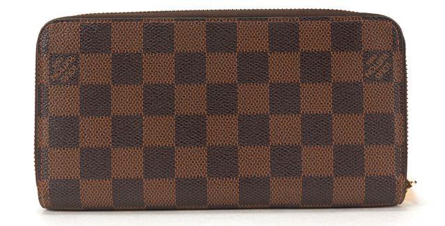 LOUIS VUITTON Authentic Damier Ebene Canvas Zippy Long Wallet