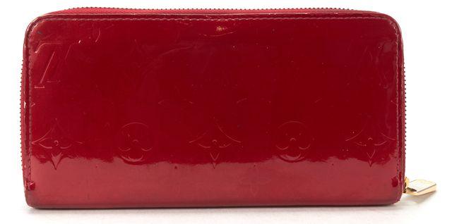 LOUIS VUITTON Authentic Red Monogram Vernis Leather Zippy Long Wallet