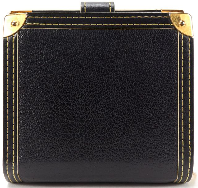LOUIS VUITTON Black Suhali Leather Compact Zip Wallet w/ Box