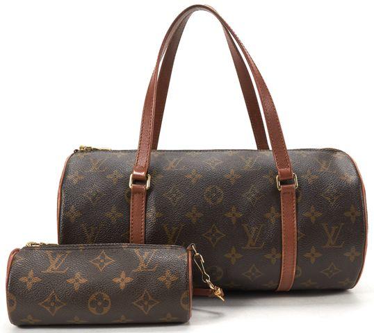 LOUIS VUITTON Brown Monogram Canvas Papillon 30 Shoulder Handbag w Pouch