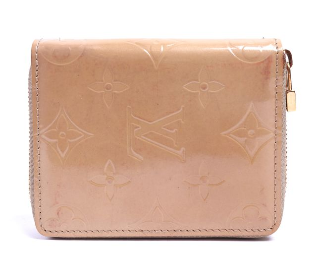 LOUIS VUITTON Beige Monogram Embossed Vernis Leather Zip Around Wallet
