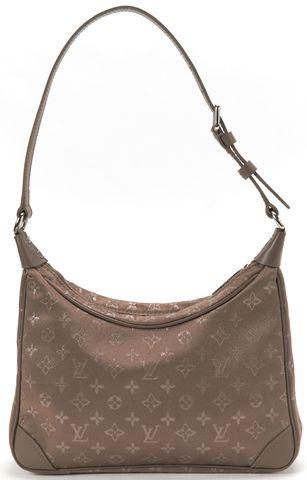 LOUIS VUITTON Brown Satin Monogram Mini Boulogne PM Shoulder Handbag