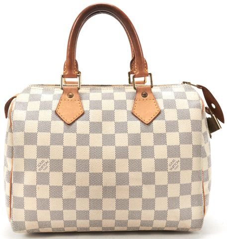LOUIS VUITTON White Damier Azur Canvas Speedy 25 Top Handle Handbag