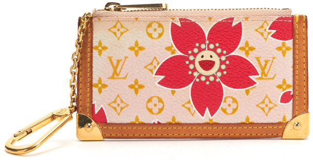 LOUIS VUITTON Authentic Pink Cherry Blossom Key Pouch Card Holder Wallet