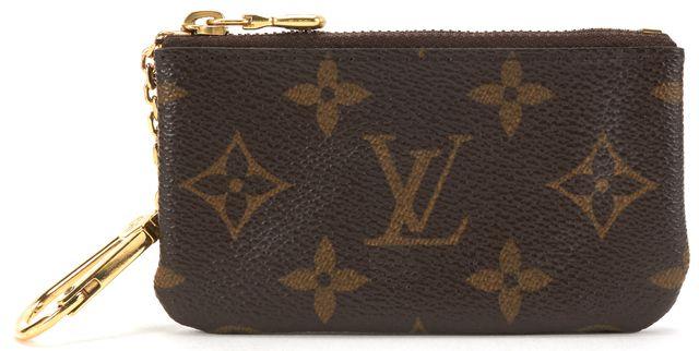 LOUIS VUITTON Authentic Brown Monogram Canvas Key Pouch Card Holder Wallet