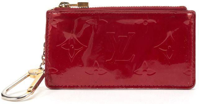LOUIS VUITTON Red Monogram Vernis Key Pouch Card Holder Wallet