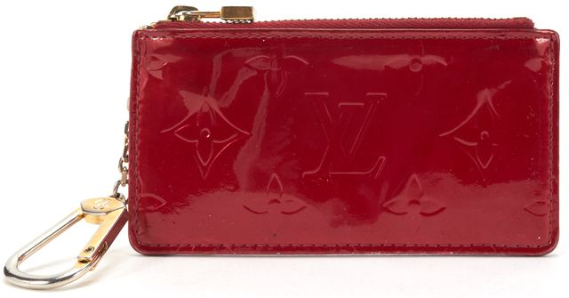 LOUIS VUITTON Red Monogram Vernis Key Pouch Card Holder Wallet